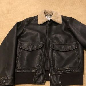 Men's lucky brand faux leather bomber